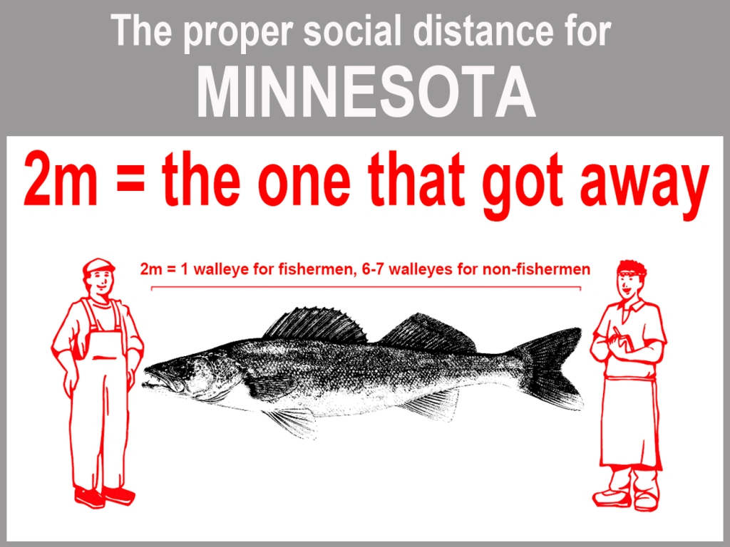 Graphic demonstrating how far away to stand from others during pandemic, using walleye fish as measurement