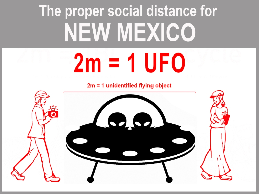 Graphic demonstrating how far away to stand from others during pandemic, using UFO as measurement