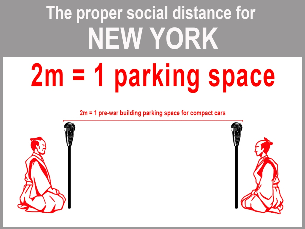 Graphic demonstrating how far away to stand from others during pandemic, using parking space as measurement