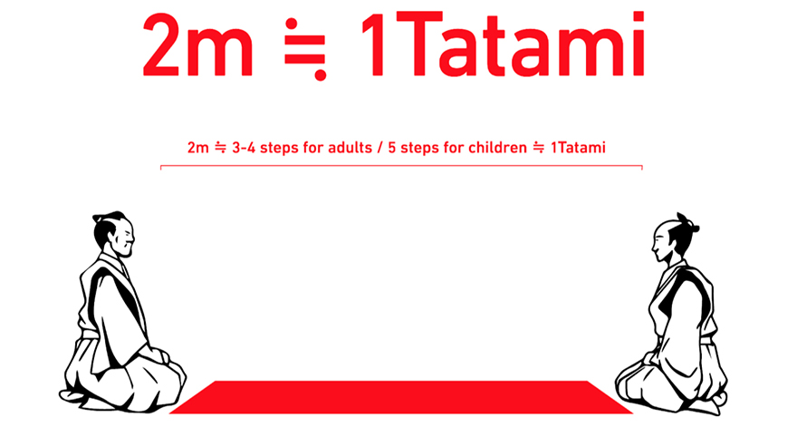 Graphic showing two meters of social distance is equal to one tatami mat
