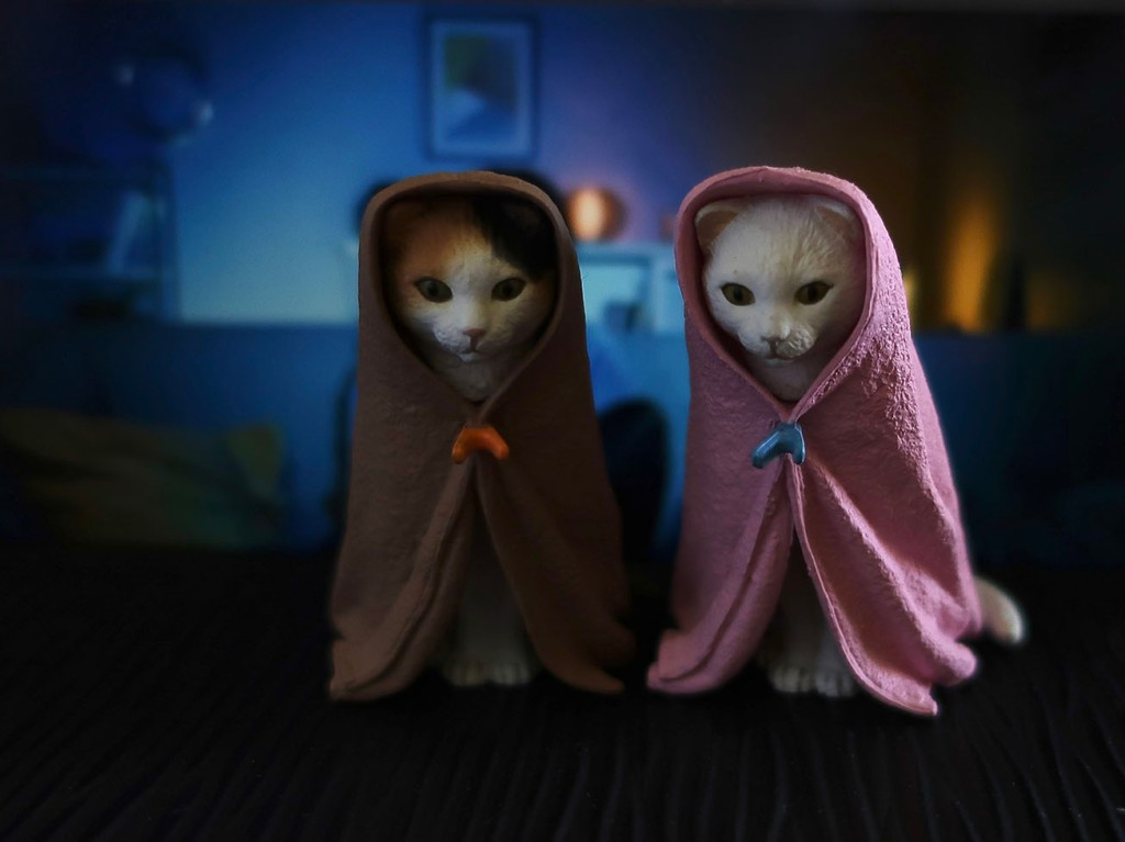 Cats in blankets Japanese gachapon toys