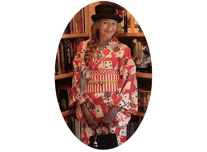 Author in playing card kimono