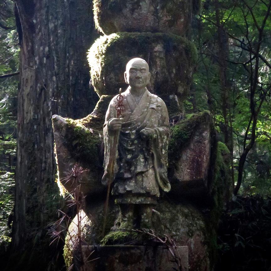 Statue of Kobo Daishi (Kukai) at Koya-san