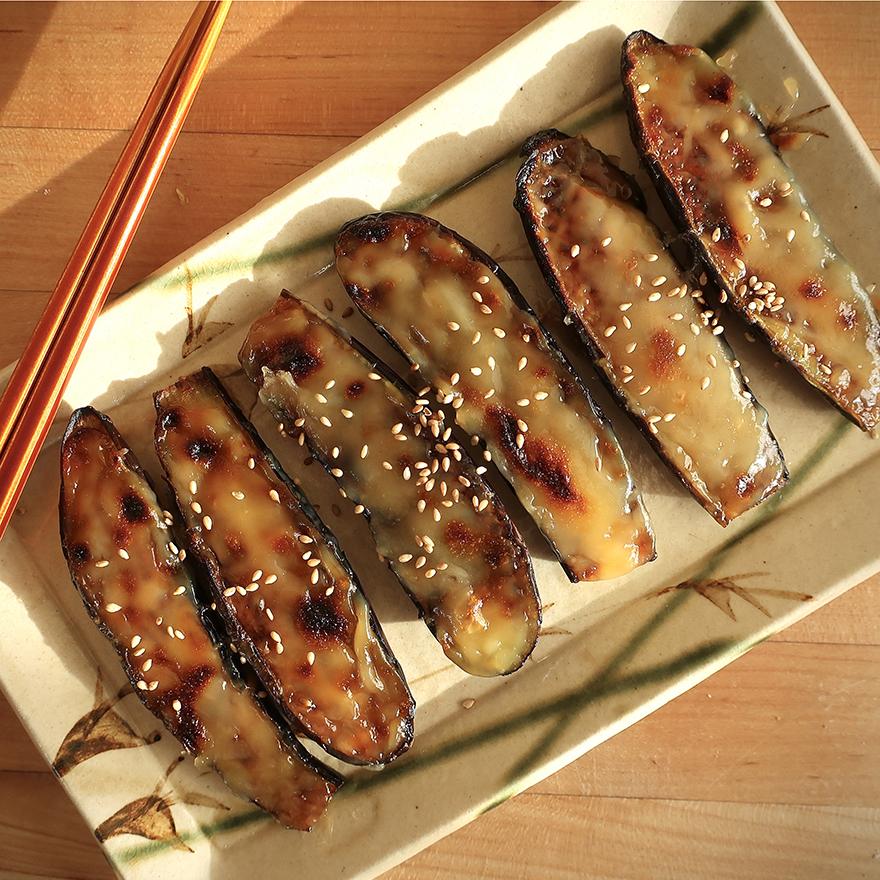 Egglant with sweet and salty miso sauce Nasu Dengaku recipe
