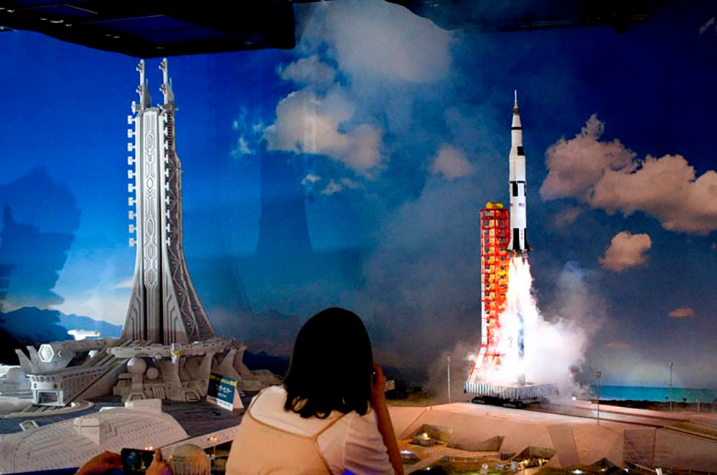 Small Worlds Tokyo rocket launch spaceport model