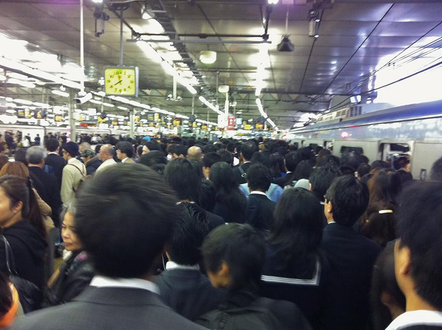 Morning commute crowd at Shibuya Station
