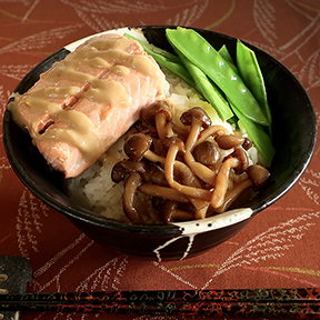 Japanese rice bowl with miso poached salmon, peppery marinated mushrooms and snow peas with soy-lemon dressing