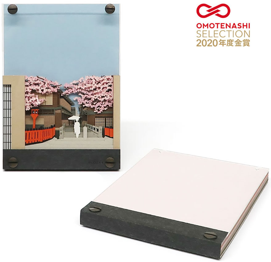 Notepad from Omoshiroi online store that can be hung on the wall after design is revealed