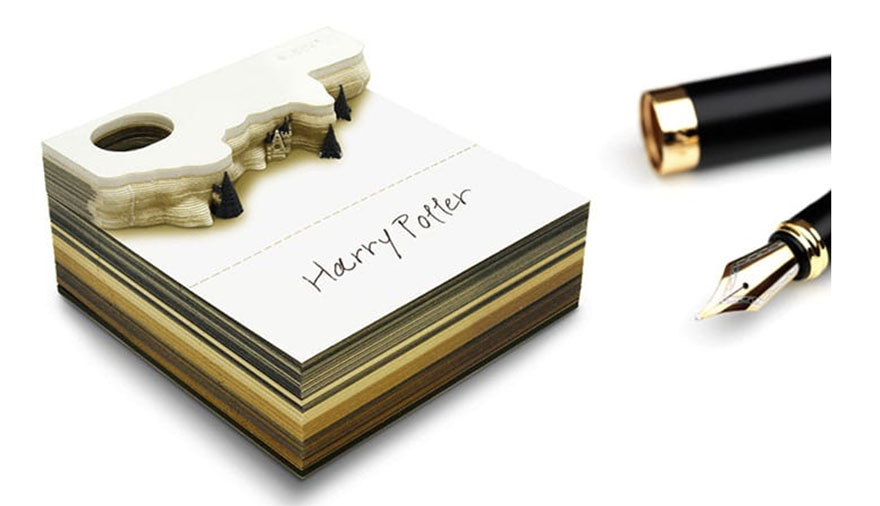Partly used notepad from Omoshiroi online store that reveals Hogwarts castle as it's used