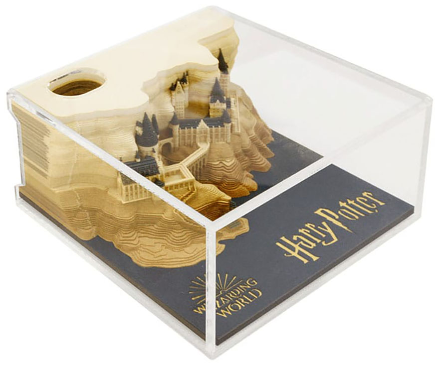Notepad from Omoshiroi online store that reveals Hogwarts castle as it's used in clear case