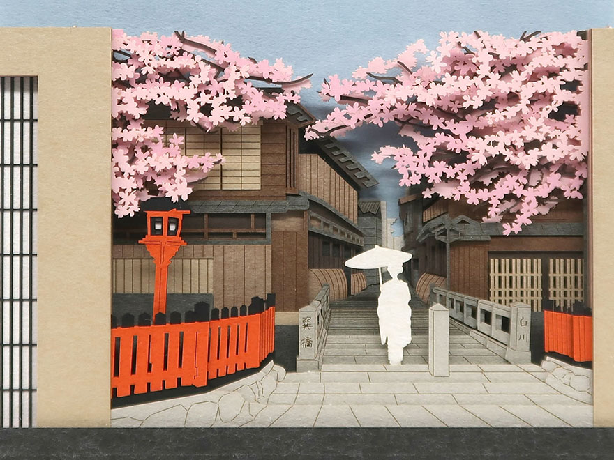 Notepad from Omoshiroi online store that reveals Kyoto cherry blossom spring street as it's used