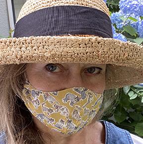 Author Jonelle Patrick in cat mask