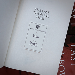 Signed bookplate in The Last Tea Bowl Thief by Jonelle Patrick