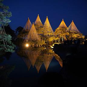 Kenrokuen garden in Kanazawa lit up at night