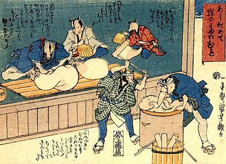 Kuniyoshi tanuki woodblock print
