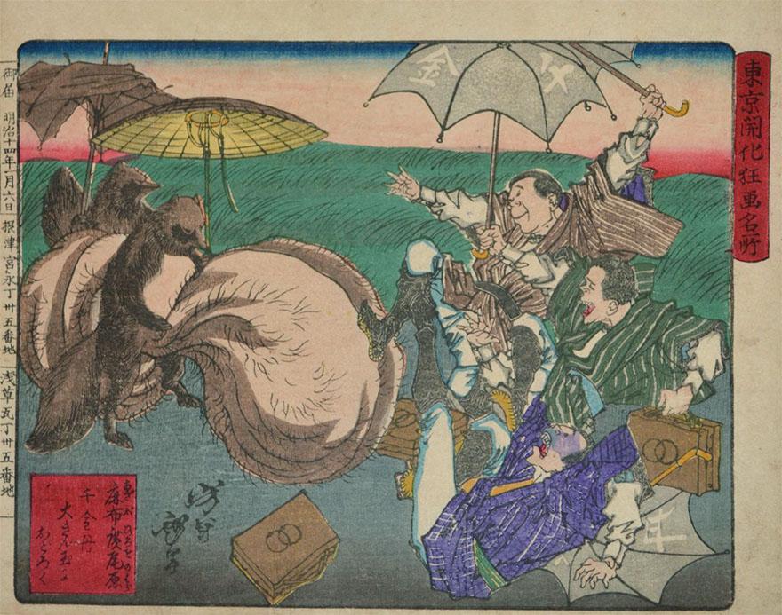 Yoshitoshi tanuki woodblock print