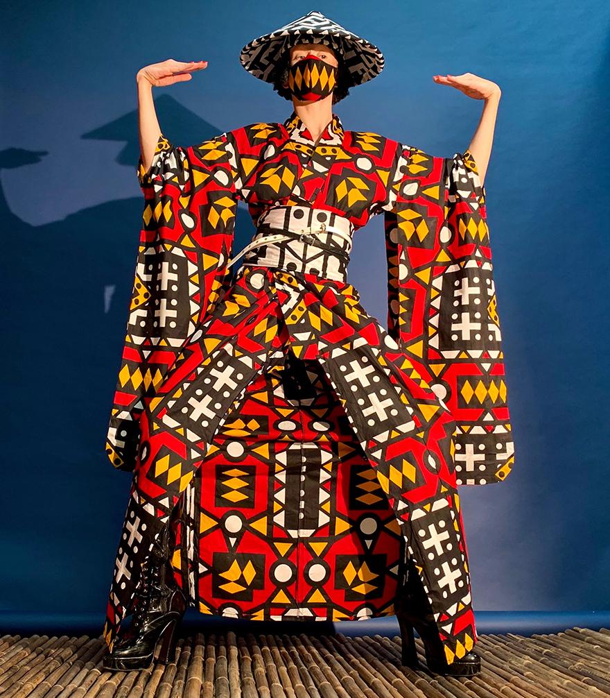 Uber Dandy Kimono Amazwe kimono ensemble