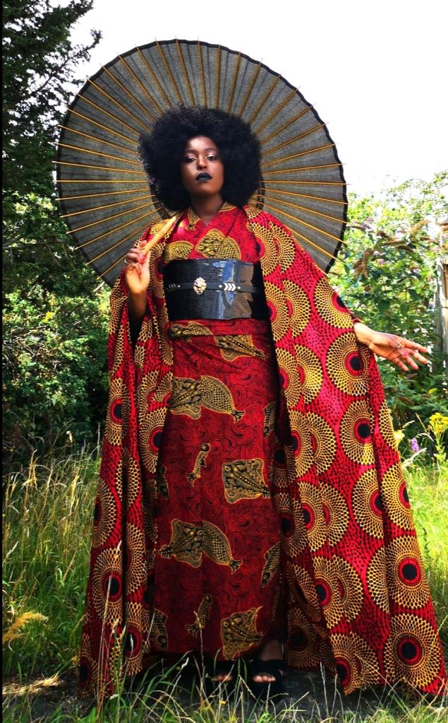 Tia Oguri in Uber Dandy Kimono Nkechi kimono ensemble with cape