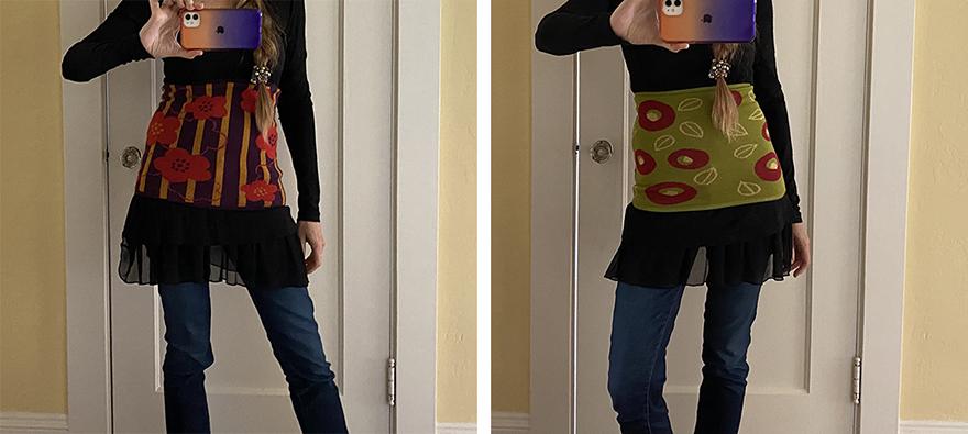 Author Jonelle Patrick wearing haramaki Japanese stomach warmer