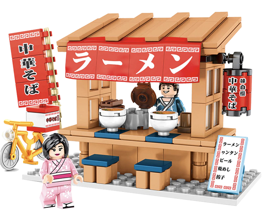 Buildiverse custom Japanese Lego town ramen stand kit