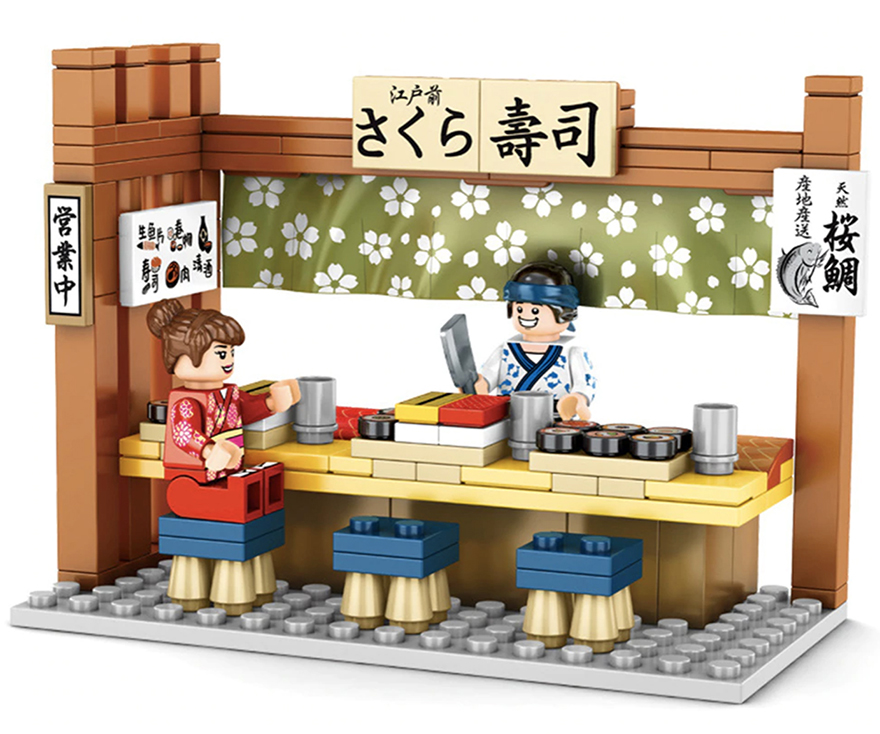 Buildiverse custom Japanese Lego town sushi stand kit