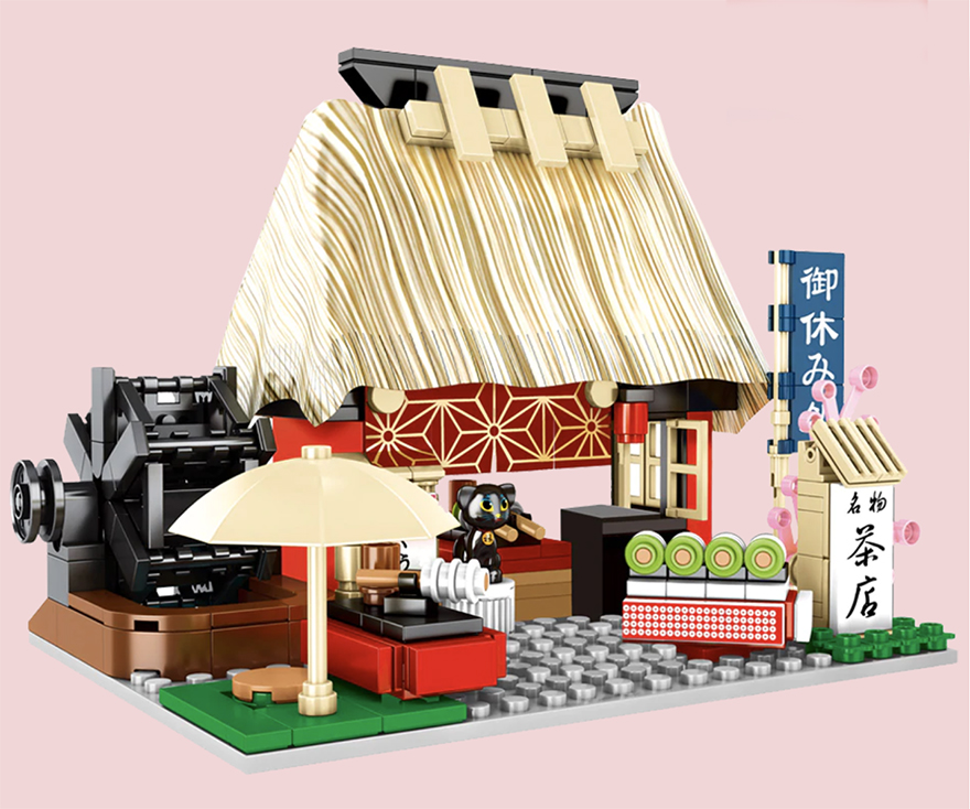 Buildiverse custom Japanese Lego town tea shop kit