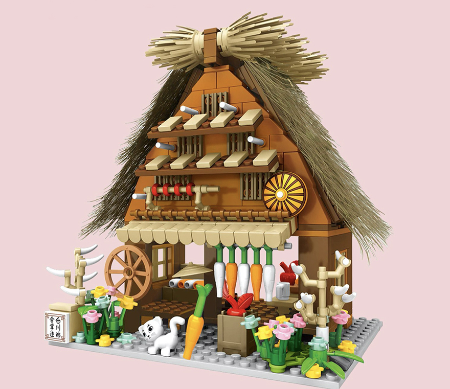 Buildiverse custom Japanese Lego town thatched hut kit