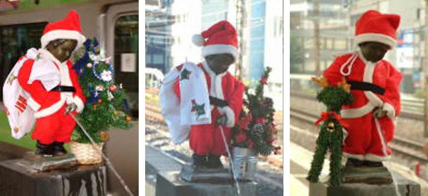 The nude peeing boy statue at JR Hamamatsucho station dressed as Santa in the years 2003, 2004, 2005