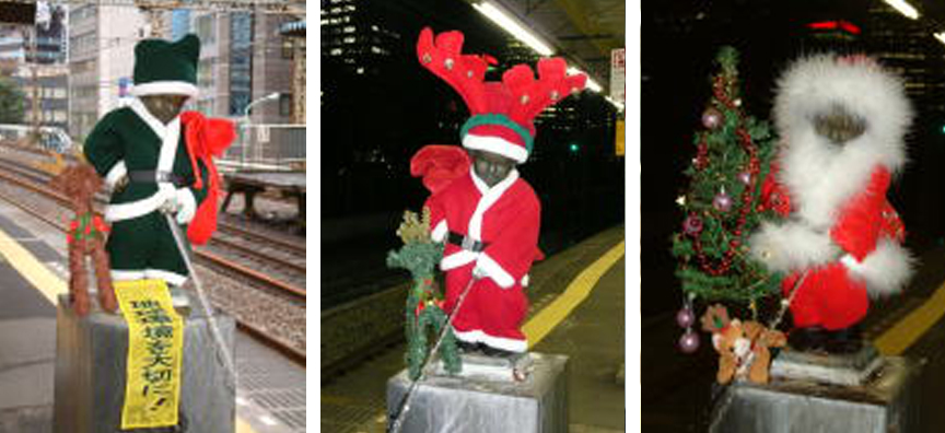 The nude peeing boy statue at JR Hamamatsucho station dressed as Santa in the years 2006, 2007, 2008