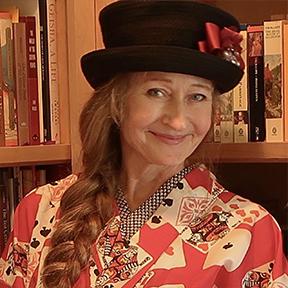 Author Jonelle Patrick in playing card kimono