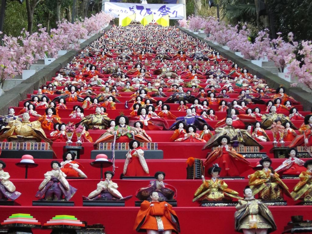 Sacred Girls Day dolls on the shrine steps in Katsuura