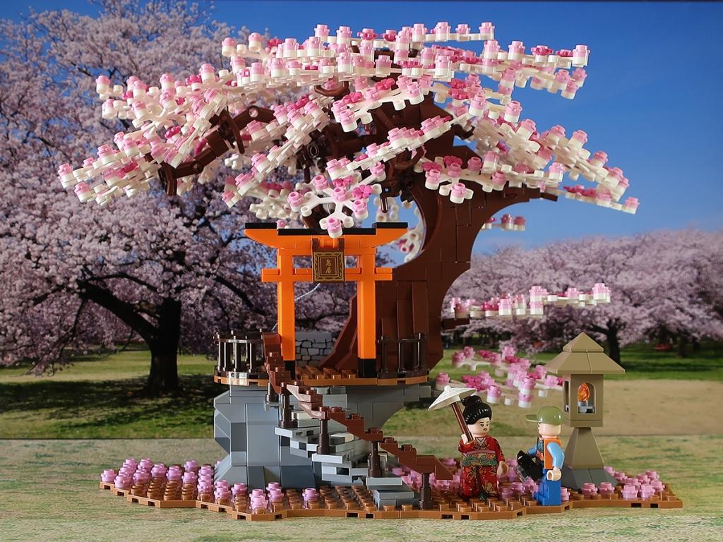 Buildiverse Lego light-up cherry tree sakura kit with kimono clad minifig and cameraman minifig