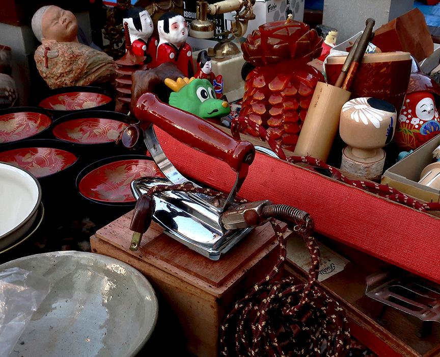 Setagaya boroichi flea market antiques for sale on a table