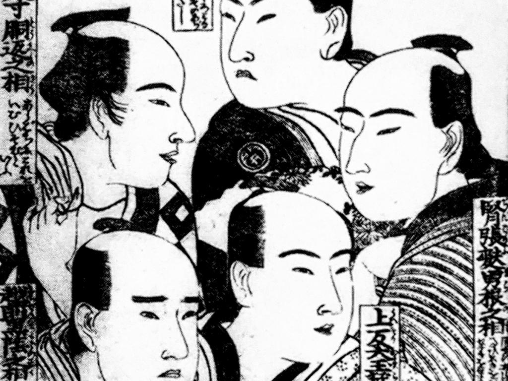 Woodblock print of the ive types of men in Yoshiwara