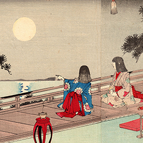 Woodblock print of two girls viewing the moon
