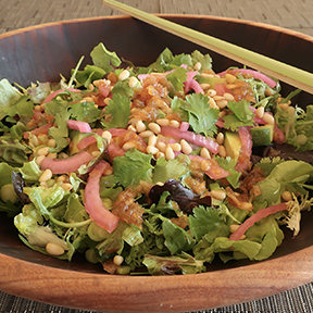 Green salad with pickled onions and Japanese wafu onion dressing